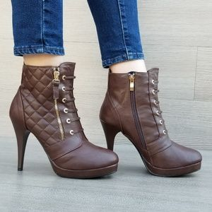 978e94381f7d Shoes - Brown Platform High Heel Ankle Boots Fur inside